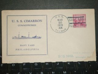 Uss Cimarron Ao - 22 Naval Cover 1939 Commissioned Cachet Uss Tillman Dd - 135 photo