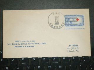 Uss Chourre Arv - 1 Naval Cover 1953 Emile Chourre Cachet photo