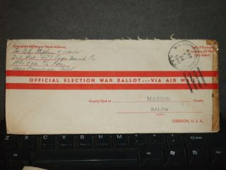 Apo 926 Morotai Islands,  Moluccas 1944 Election Ballot Wwii Cover 477 Engr Maint photo