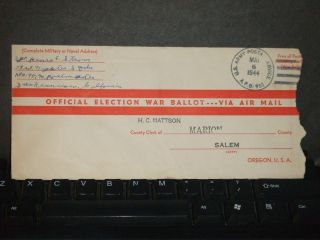 Apo 951 Bellows Field,  Hawaii 1944 Election Ballot Wwii Cover 73rd Fighter Sq photo