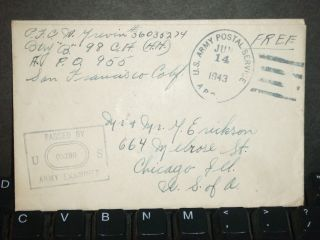 Apo 955 Fort Malakole,  Hawaii 1943 Censored Wwii Cover 98 Ca (hh) photo