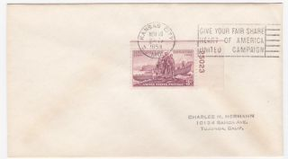 Kansas City Mo America United Campaign 1954 Slogan Cancel On Cover photo