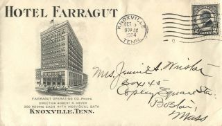 Knoxville Tn 1924 Hotel Farragut Advertising Cover photo