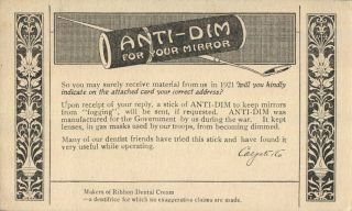 Jersey City Nj Anti - Dim Your Mirror 1921 Advertising Card photo