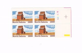 Scott 2403,  North Dakota Statehood,  Plate Block Of 4,  1989 Issue,  Mnhog photo