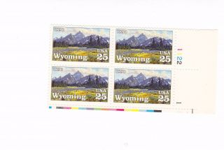 Scott 2444,  Wyoming Statehood Centennial,  Plate Block Of 4,  1990 Issue,  Mnhog photo