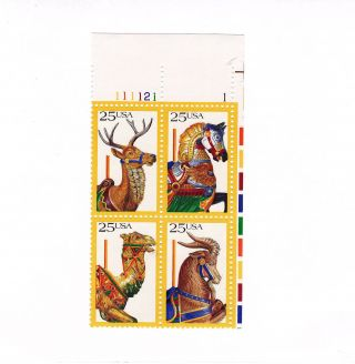 Scott 2390 - 3,  Carousel Animals,  Plate Block Of 4,  1988 Issue,  Mnhog photo