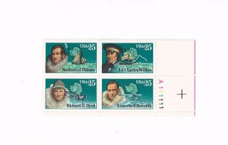 Scott 2386 - 9,  Antarctic Explorers,  Plate Block Of 4,  1988 Issue,  Mnhog photo