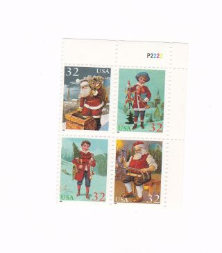 Scott 3004 - 7,  Santa And Children,  Plate Block Of 4,  1995 Issue,  Mnhog photo