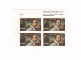 Scott 3002,  Tennessee Williams,  Plate Block Of 4,  1995 Issue,  Mnhog photo