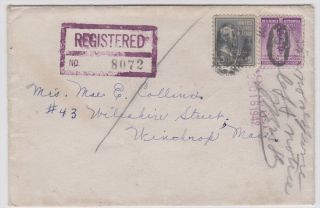 Nahant Ma 1942 Registered Cover To Winthrop photo