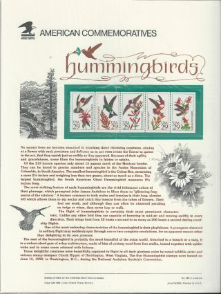 2646a Hummingbirds 1992 Commemorative Panel photo