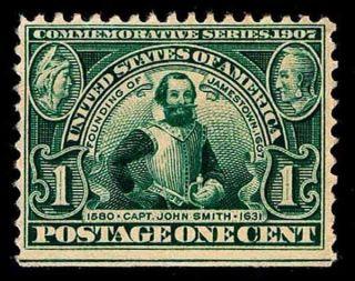 Us.  328.  01c Jamestown Commomerative Issue - Ng - Fine - $25.  00 (esp 4909) photo