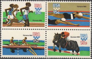 Stamp Us Sc 1791 - 4 Block 1980 Olympic Swim Javelin photo