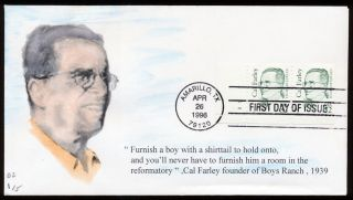1996 Cal Farley 32c Plate Number Pair On First Day Cover G7 photo