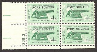Sc 1178 Never Hinged F - Vf Plate Block Fort Sumter 1961 photo