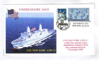 Uss York Lpd - 21 Amph Transport Dock Color Photo Cachet 9/11 10th Postmark photo