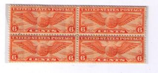 Sc C19 Air Mail - 6 Cent - Winged Globe - Block Of 4 - photo