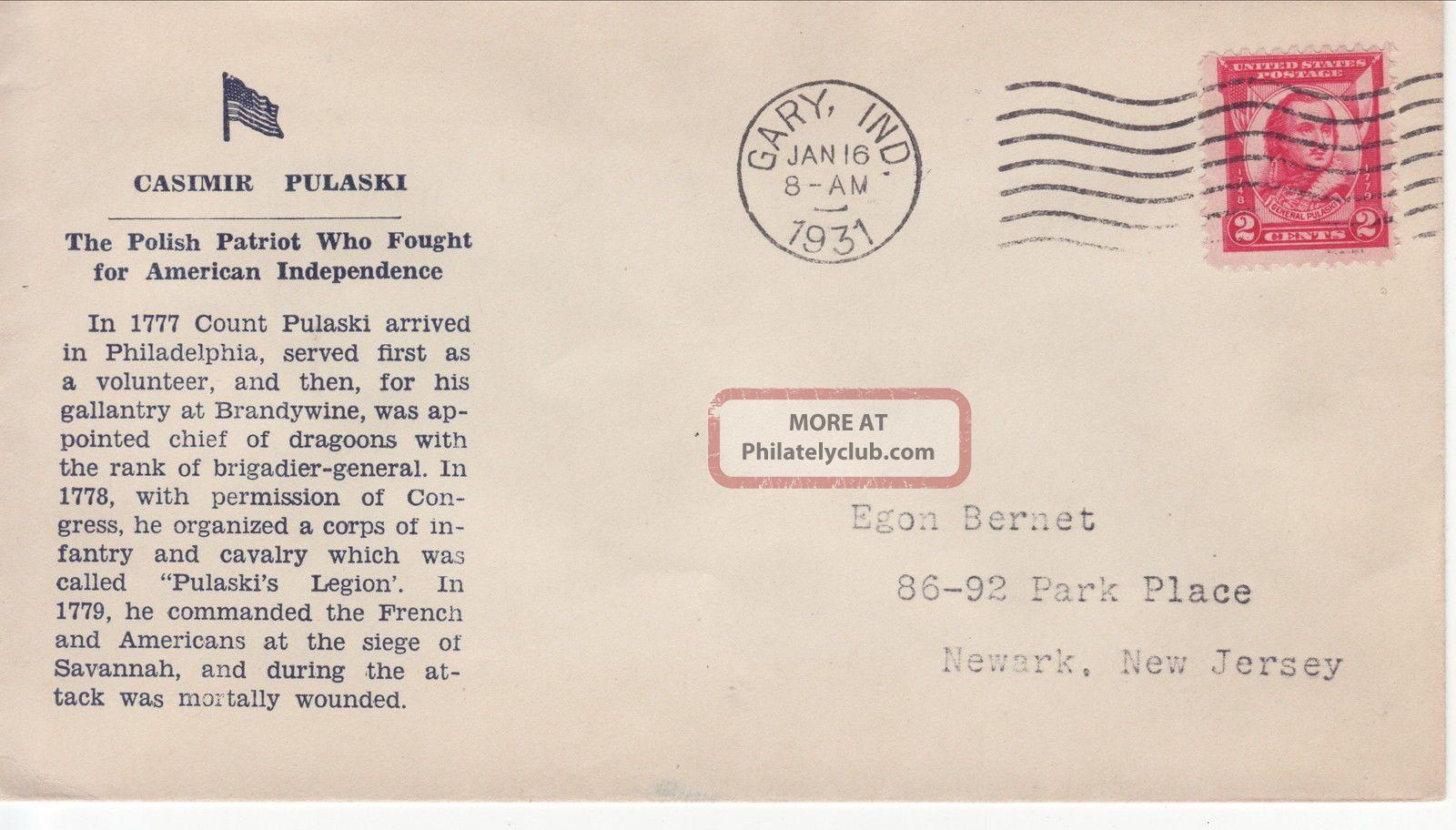 690 - 5 2c Pulaski,  Chicago Il 1/16/31,  S,  Newark Stamp & Coin/bernet (red) FDCs (pre-1951) photo