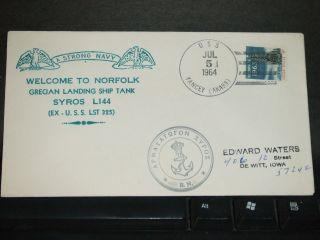 Uss Yancey Aka - 93 Naval Cover 1964 Greek Syros Ex Lst - 325 Cachet Norfolk,  Va photo
