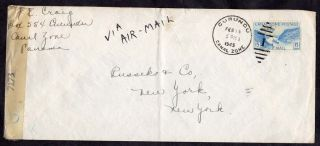 Canal Zone Curundu To York 1945 Censored Cover photo