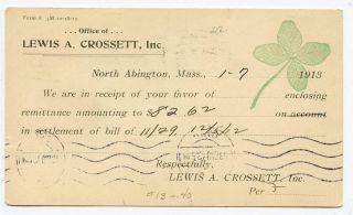 North Abington Ma Crossett Inc 1913 Advertising Card photo