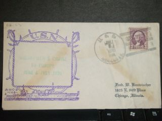 Uss Arkansas Bb - 33 Naval Cover 1936 Cachet Sweden photo