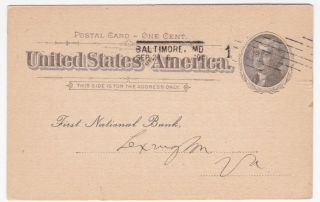 Baltimore Md Drovers & Mechanics National Bank 1896 Advertising Card photo