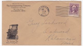Kalamazoo Mi 1933 Intertypesetting Company Advertising Cover photo