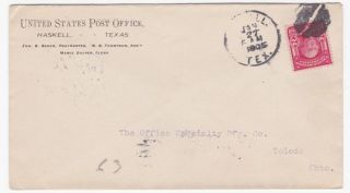 Haskell Texas United States Post Office 1905 Cover To Toledo Ohio photo