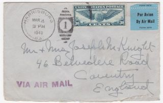 Harrisburg Pa To England 1940 Winged Globe Single Franked Airmail Cover photo