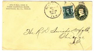 Beeville Texas 1907 Uprated Cover To Chicago Illinois photo