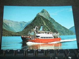 Mv Mitre Peak Milford Sound,  Zealand Naval Cover Postcard photo