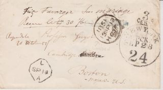 Stampless Transatlantic Cover London Crown 1851 Scarce York A Packet 24 $60 photo