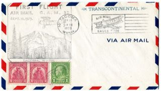 First Flight Airmail Postal Cover Cam 32 Tacoma Wa To Montreal Canada photo