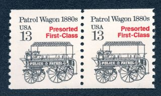 Us 2258 Nh Vf 13 Cent Patrol Wagon 1880 ' S Pair photo