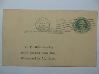 Illinois,  Pana Uy7r Postal Card To Minneapolis,  Minn Dec 7,  1948 W/int ' L Mch Cncl photo