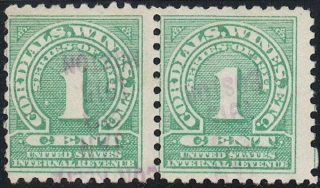 Us Scott Re3 1c Green Wines Revenue Tax Stamp Pair photo