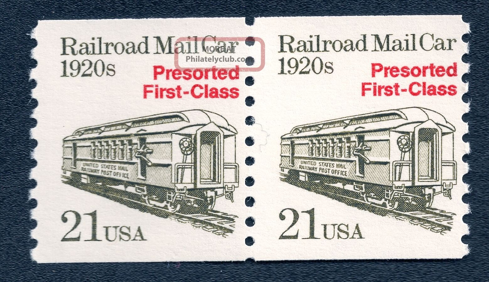 Us 2265 Nh Vf 21 Cent Railroad Mail Car Pair United States photo
