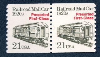 Us 2265 Nh Vf 21 Cent Railroad Mail Car Pair photo