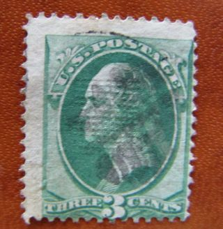 136 Grilled 3 Ct Green Banknote 19th Century Us Stamp D689 photo