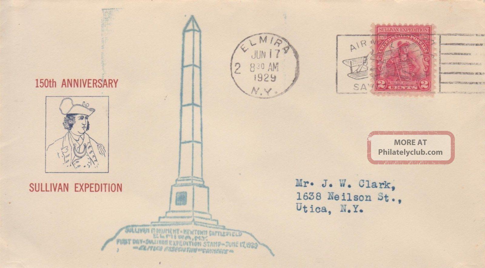 657 - 9var (addl 647 - 4 Rs Cachet) 2c Sullivan Pm Elmira Ny 6/17/29,  S,  Mauck FDCs (pre-1951) photo