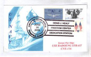 Uss Badoeng Strait Cve - 116 Korean War Ship Naval Cover - photo