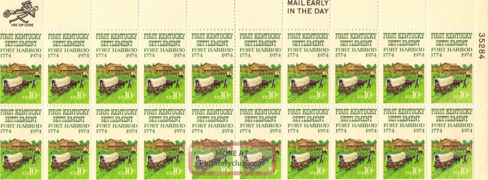 Us Stamp Sheet Scott 1542 1974 10 Cent 20 Count First Kentucky Settlement United States photo