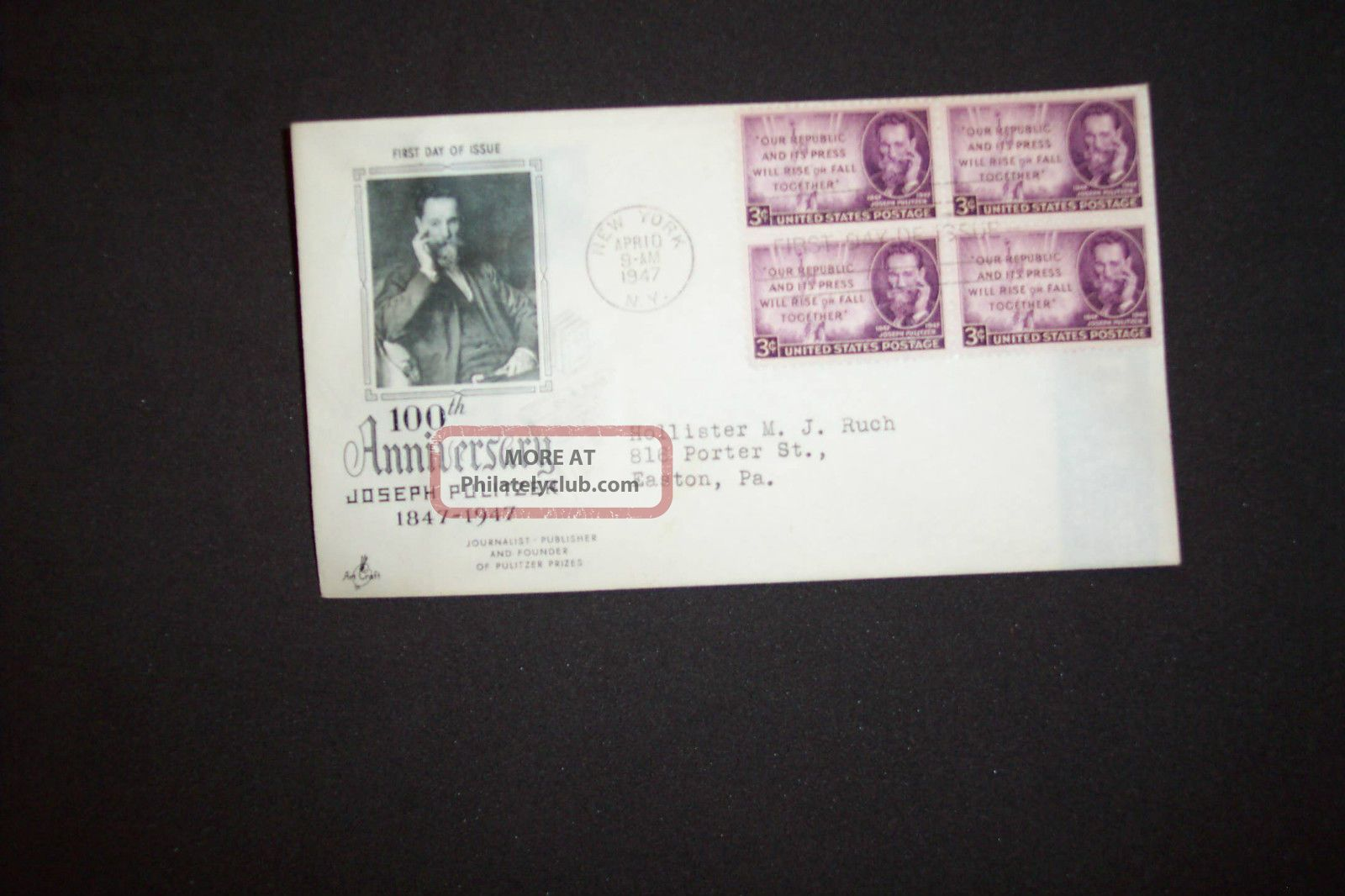 3c Blk 4 Joseph Pulitzer Fdc Ny/ny Art Craft/scott 946 FDCs (pre-1951) photo