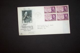 3c Blk 4 Joseph Pulitzer Fdc Ny/ny Art Craft/scott 946 photo
