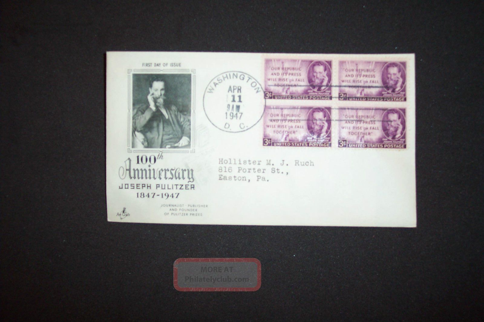 3c Blk 4 Joseph Pulitzer Fdc Dc Art Craft/scott 946 FDCs (pre-1951) photo