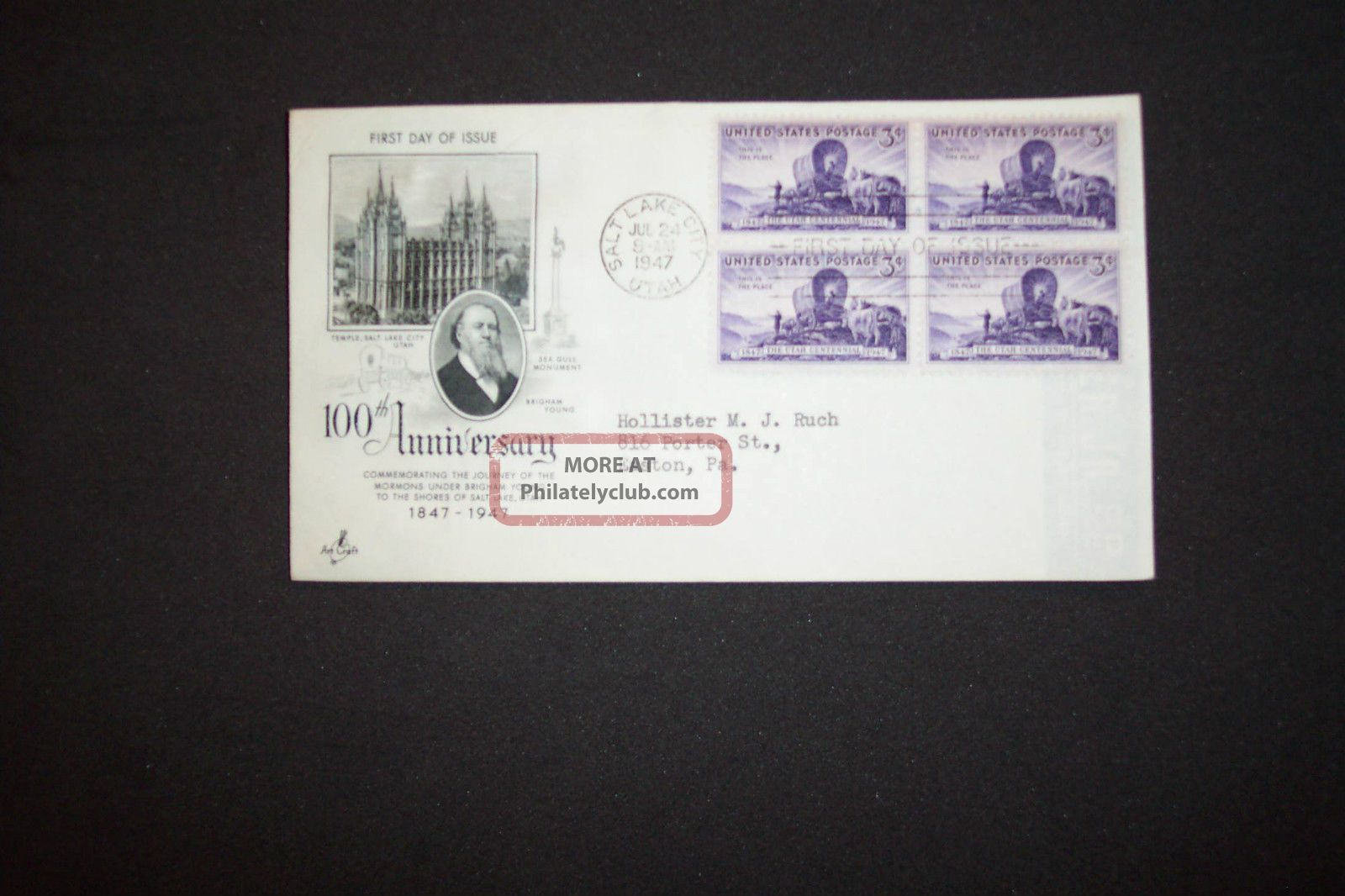 3c Blk 4 Utah Centennial Art Craft/scott 950 FDCs (pre-1951) photo