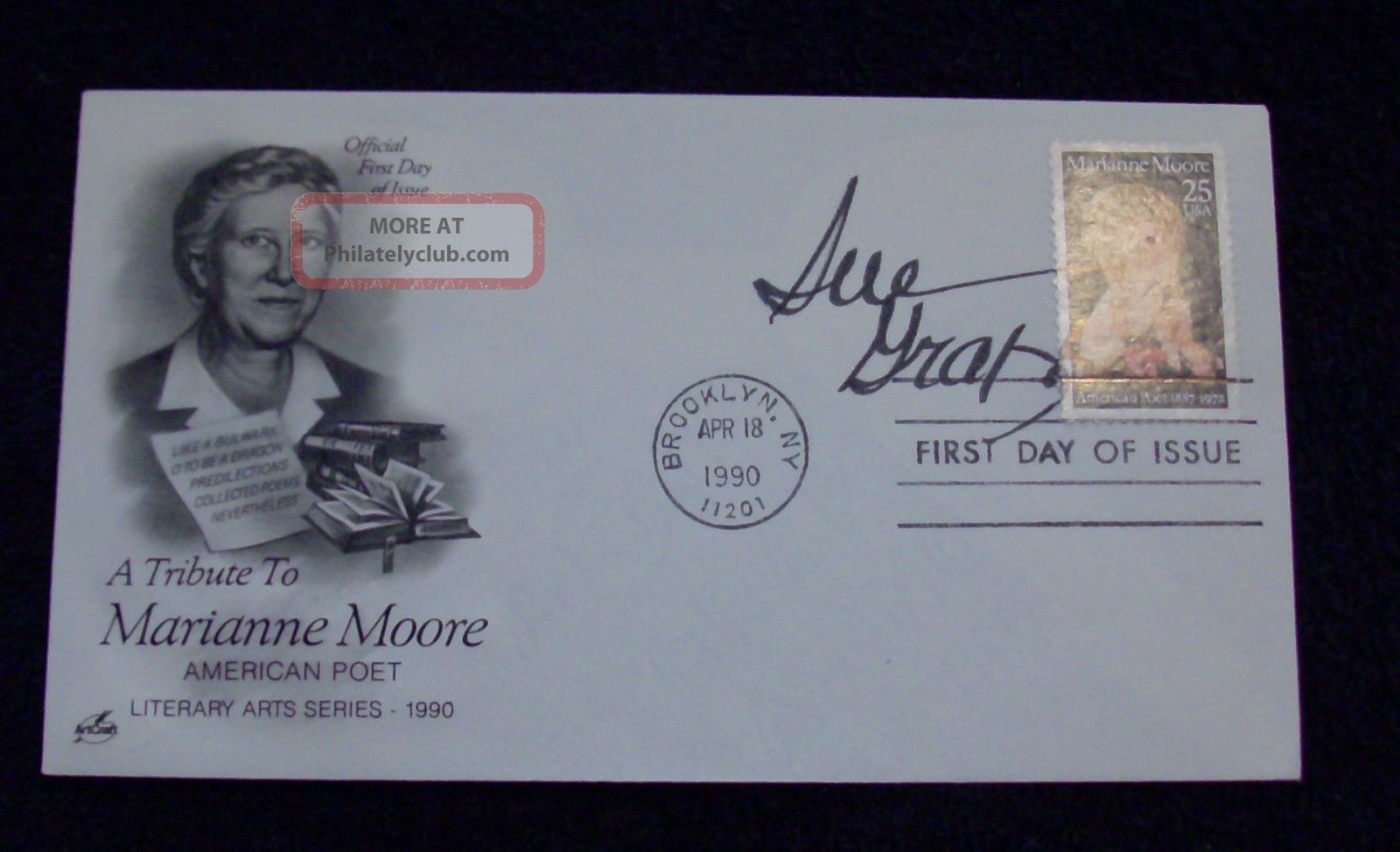 1990 Marianne Moore First Day Of Issue Cover (fdc) Signed By Author Sue Grafton FDCs (1951-Now) photo