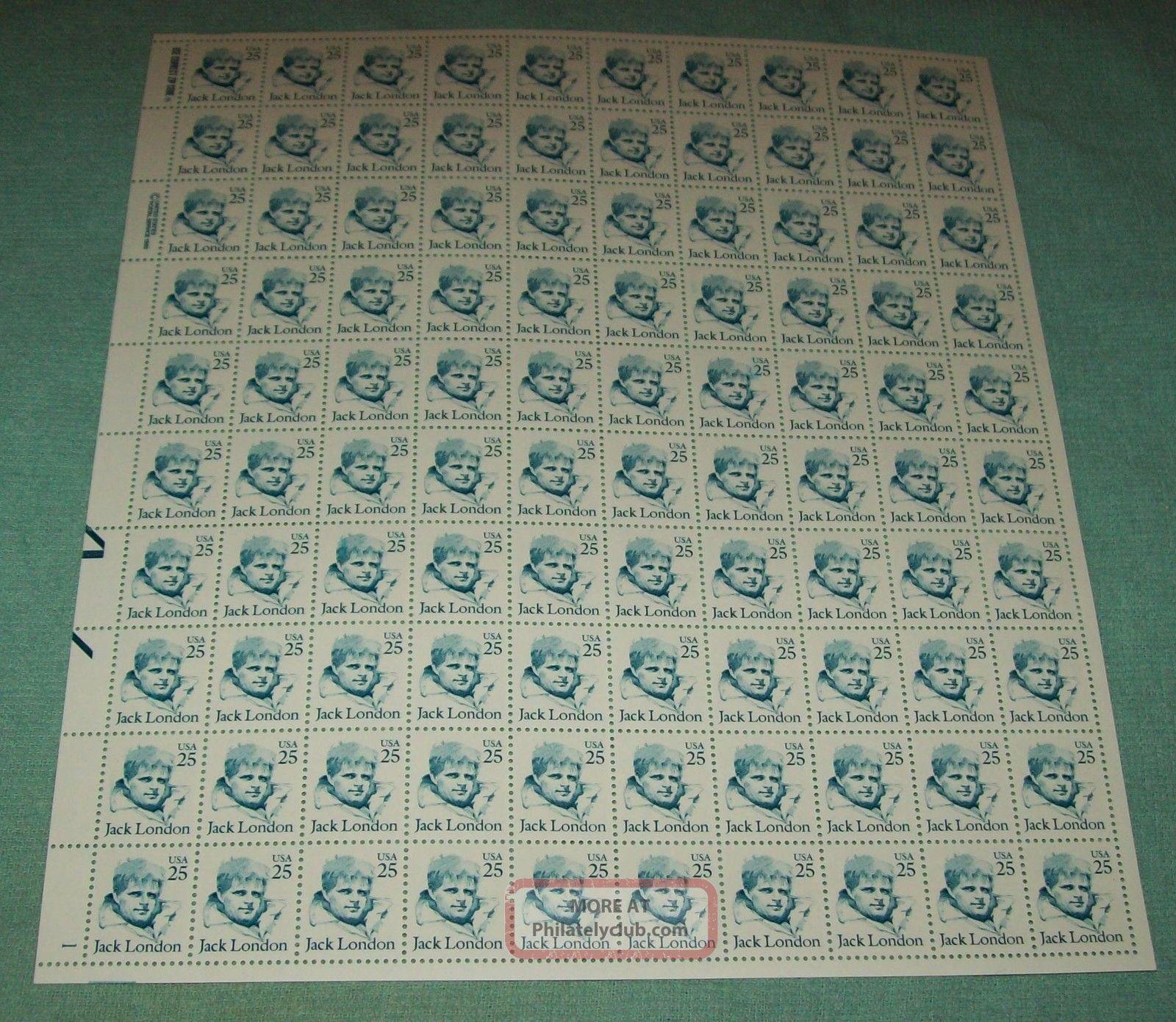 U.  S: 2182 25 - Cent Jack London (1986) Sheet/100 Nh Og United States photo